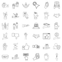 Pointing icons set, outline style