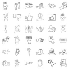Document icons set, outline style