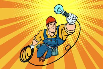 worker electrician light bulb flying superhero