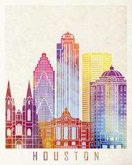 Wall Mural - Houston landmarks watercolor poster