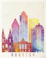 Fototapete - Houston landmarks watercolor poster