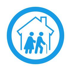 Icono plano residencia ancianos en circulo color azul