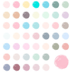 Watercolor blobs, stains, splashes. Set of colorful watercolor hand painted circles isolated on white. Pastel watercolor colors.