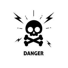 Electrical hazard sign vector illustration, flat cartoon electric shock risk zone symbol, electricity caution sticker, alert sign