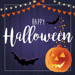 Happy Halloween vector illustration with pumpkin, card design template