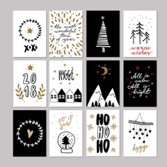 Set of doodle Christmas greeting cards. Vector hand drawn cute icon. Scandinavian style. Xmas tree, houses, garland, snow globe and lettering. New Year scrapbooking. Holiday festive party.