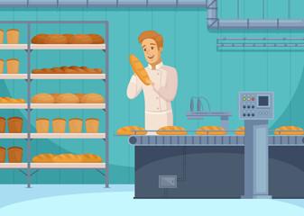 Bread Production Cartoon Composition