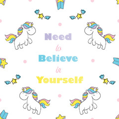 Seamless Pattern and Background with Cute Cartoon Unicorns Magic Collection