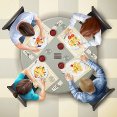 Eating Characters Top View Illustration