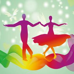 Couple dancing ballroom dance, vector silhouette logo