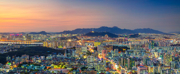 Aluminium Prints Asian Famous Place Seoul. Panoramic cityscape image of Seoul downtown during summer sunset.