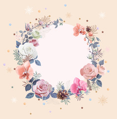 Christmas card, round frame with white, red rose, pink orchids flowers, small twigs asparagus, pine, cones, snowflakes, stars, tinsel, vintage background, digital draw illustration, template, vector