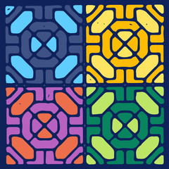 Mosaics color geometrical ornament.