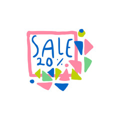 Sale 20 percent off logo, special offer label, banner, advertising badge or sticker tag colorful hand drawn vector Illustration