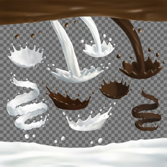 Milk and chocolate jets splashes, drops and blots