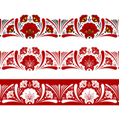 Set of russian pattern border seamless elements vector. Traditional floral embroidery ornament. Design for frames, text dividers, lace, textile ribbon, tablecloth fabric and folk souvenir.