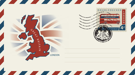 Vector envelope with map and flag of Great Britain, a postage stamp with double-decker London bus and rubber stamp in form of royal coat of arms of United Kingdom