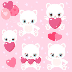 Set of cute cats for Valentine's Day. Kittens with hearts and balloons. Children's characters.