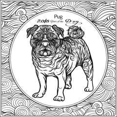 Coloring page with dog on background with traditional chinese patterned