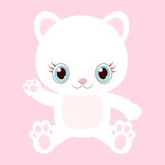 Printed kitchen splashbacks Cats Nice white cat. Little kitty. Children's character.