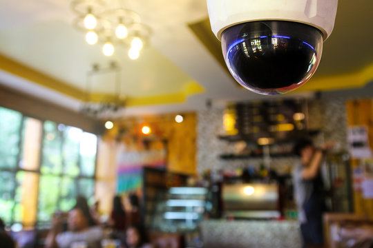 Closed-circuit television, Security CCTV camera or surveillance system in a coffee shop.