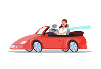Vector flat illustration of a happy young woman driver sitting rides in his red car. Design concep travel