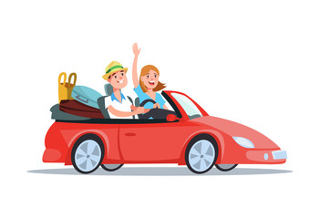 Vector flat illustration happy young couple riding in a red car on vacation