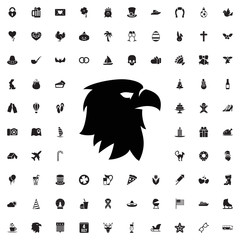 Eagle head icon. set of filled holiday icons.
