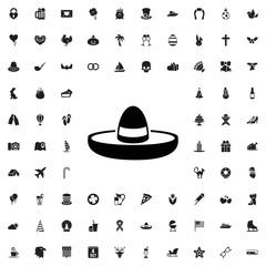 Mexican hat icon. set of filled holiday icons.