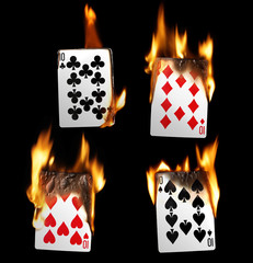 Real Burning Playing Cards with red hot Flames Isolated on Black Background: Tens