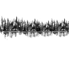 Seamless Pattern. Watercolor landscape, black silhouette of trees.spruce, pine, cedar. Forest landscape, reflection of trees in a river, lake. Vintage drawing, border.