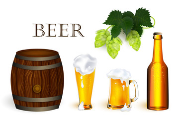 vector realistic beer wooden oak keg barrel with iron rings, bottle, glass and mug of lager golden drink with thick foam hop cone with leaves set. Isolated illustration on a white background