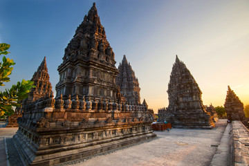 Sunset at the Hindu temple Prambanan - Java, Indonesia.