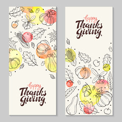 Happy thanksgiving day. Hand drawn lettering with watercolor dots and autumn objects. Thanksgiving flyers with autumn leaves and pumpkins composition.
