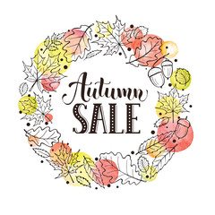 Autumn sale. Hand drawn lettering with watercolor dots and sketch style leaves on background.  Fall discount flyer.