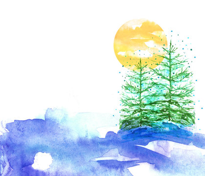 Watercolor picture, postcard. A group of coniferous trees, fir trees, fir trees in winter, in a snowdrift on a blue background. On a background of sunset, yellow sun. New Year's, Christmas card