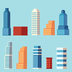 vector flat cartoon different buildings set. Skyscrapers, office centers shopping mall and city apartments houses. Illustration on light blue background
