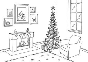 Living room graphic Christmas tree black white interior sketch illustration vector