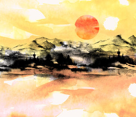 Watercolor painting. Nature, mountains, countryside, black silhouette of mountains, trees. Against the backdrop of a sunset red, orange, yellow sky and sun. Postcard, picture, poster, logo.