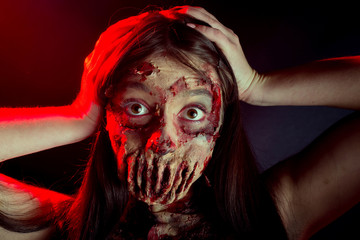 Zombie girl terrible portrait causes horror, walking dead