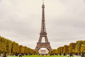 Panorama of the Eiffel Tower in Paris in France