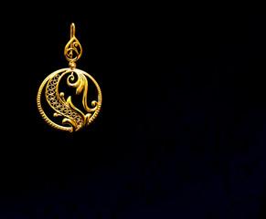 beautiful Oriental gold Turkish jewelry women's earrings black background