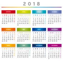 Calendrier 2018 en Français - Couleurs Arc-en-Ciel Format 4 Trimestres
