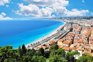 Great view of Nice City, French Riviera with Mediterranean Sea