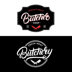 Set of Butcher Shop and Butchery hand written lettering logo, label, badge, emblem.