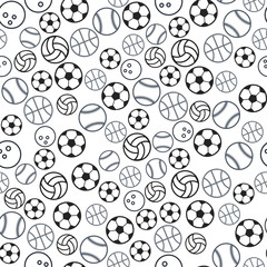 Sport ball seamless pattern. Seamless sport pattern with balls. Repeated backdrop for fashion clothes, t shirt, child, paper. Creative design isolated on white