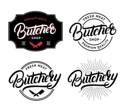 Set of Butcher Shop and Butchery hand written lettering logo, label, badge, emblem.