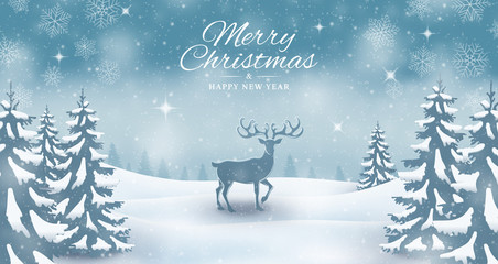 Christmas reindeer winter landscape background