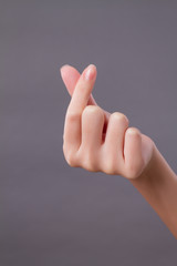 love, peace, heart hand gesture studio isolated
