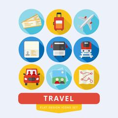Travel icons set flat design vector illustration